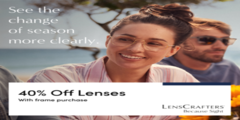 40% Off Lenses with Frame Purchase!