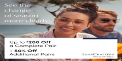 Up to $200 off a Complete Pair + 50% off Additional Pairs.  Plan your visit today!