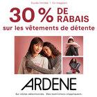 30 % de rabais sur les vêtements de détente. Certaines restrictions s'appliquent. #ardenelove