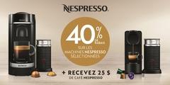 40% de rabais sur les machines Nespresso sélectionnées
