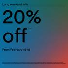 Long weekend sale