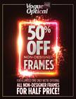 50% off all non-designer frames