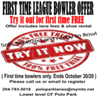 First Time League Bowler Free Trial
