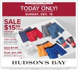 TODAY ONLY! SUNDAY DEC 15