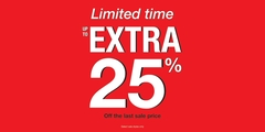 Limited time up to extra 25% off the last sale price.
