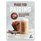 Small Latte with any freshly baked muffins for only $2.99 + tax.