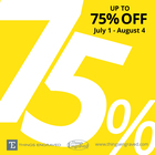Up to 75% off Sale July 1 - August 4