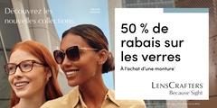 Campagne de mai - Obtenez 50 % de rabais sur les verres à l'achat d'une monture