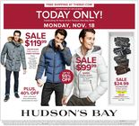 ONE DAY SALE!  MONDAY, NOVEMBER 18th