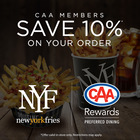 CAA Members save 10% at New York Fries!