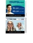 Contact Lens Semi-Annual Event and Buy One Get One Free Eyeglasses Promo