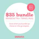 $35 bundle Rainbow Tin + Travel Mug