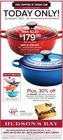 TODAY ONLY! SUNDAY, DEC. 16 $179.99 NEW LE CREUSET 3.1 L enamelled cast iron Chef's French Oven
