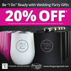 20% off Wedding Party Gifts @Things Engraved