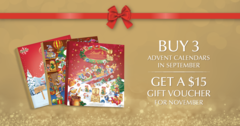 Buy 3 advent calendars in September. Get a $15 gift voucher to use in November!