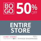 BOGO - Buy a Gift, Get a 2nd at Gift 50% off @Things Engraved
