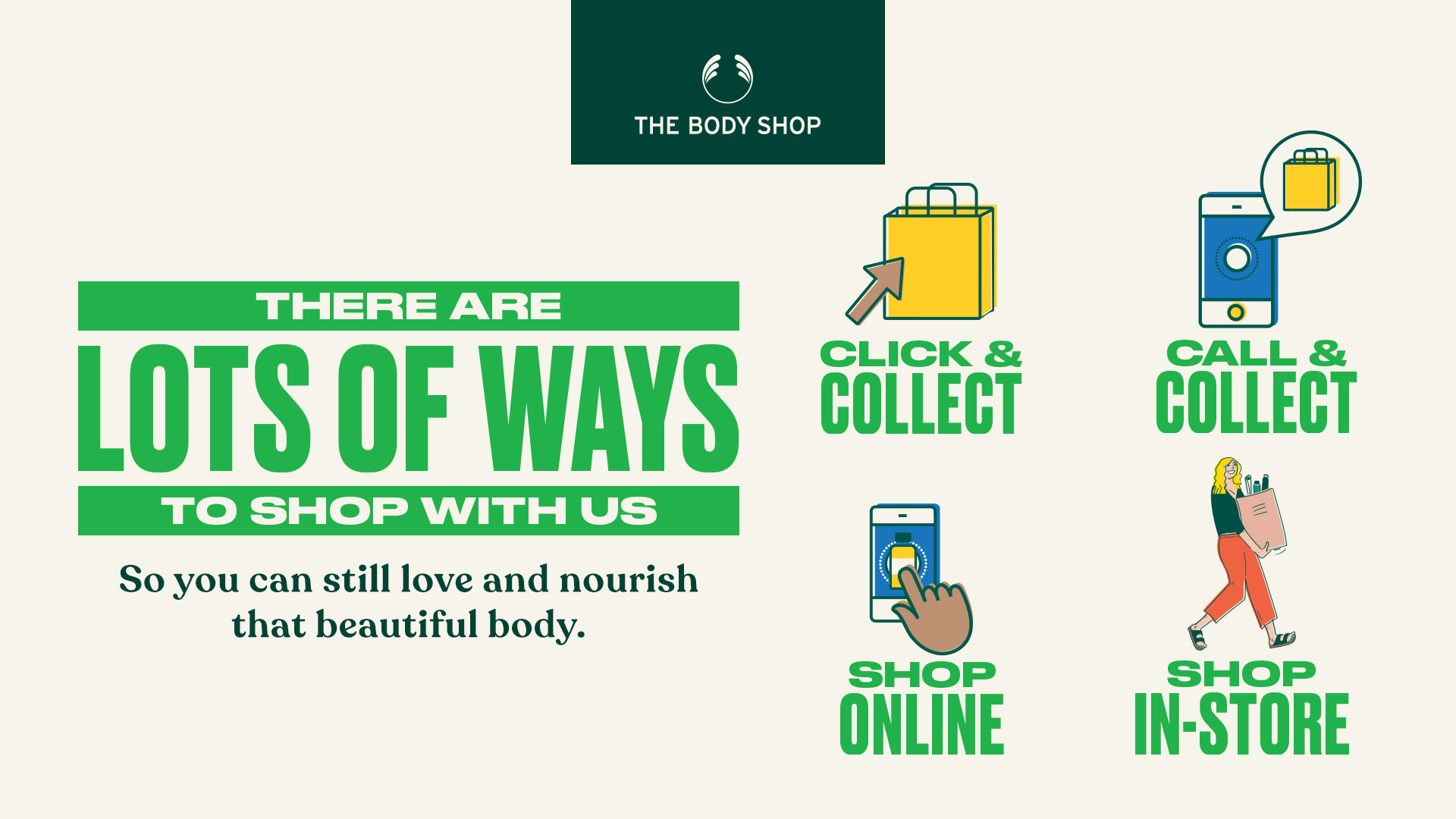 Love and Nourish that Beautiful Body! Shop with us any way you choose!