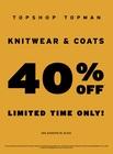 40% OFF TOPSHOP TOPMAN COATS & KNITWEAR!