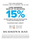 HUDSON'S BAY CREDIT OFFER: VALID FEBRUARY 14 TO 18 2019 ONLY.