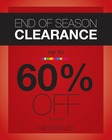 End of Season Clearance - Up To 60% Off