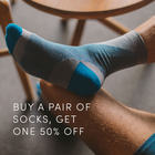 Buy a pair of socks, get one 50% off