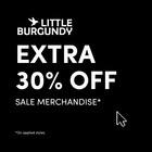 Extra 30% OFF *sale merchandise, on applied styles.