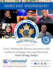 CONTINENTAL CURRENCY EXCHANGE: HEROES WEDNESDAY- Members save on already exclusive rates!