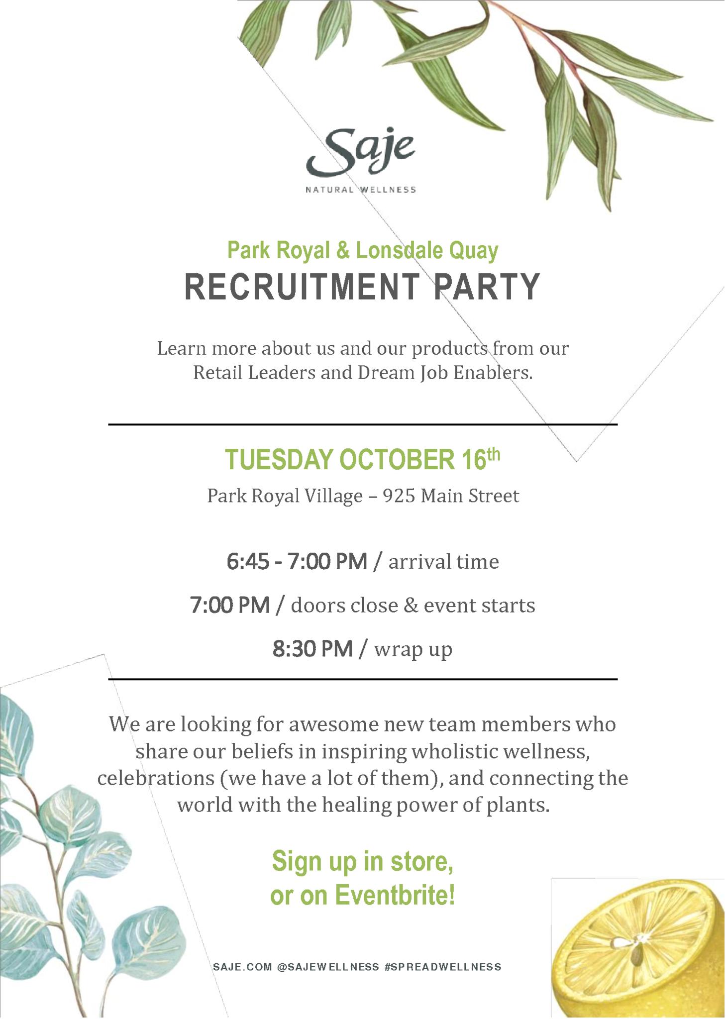 Saje Recruitment Party