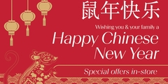 Wishing you and your family a Happy Chinese New Year In celebration receive: 20% off* full price items with Alipay coupon presented.