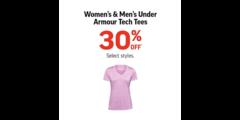 Women's & Men's Under Armour Tech Tees 30% Off*