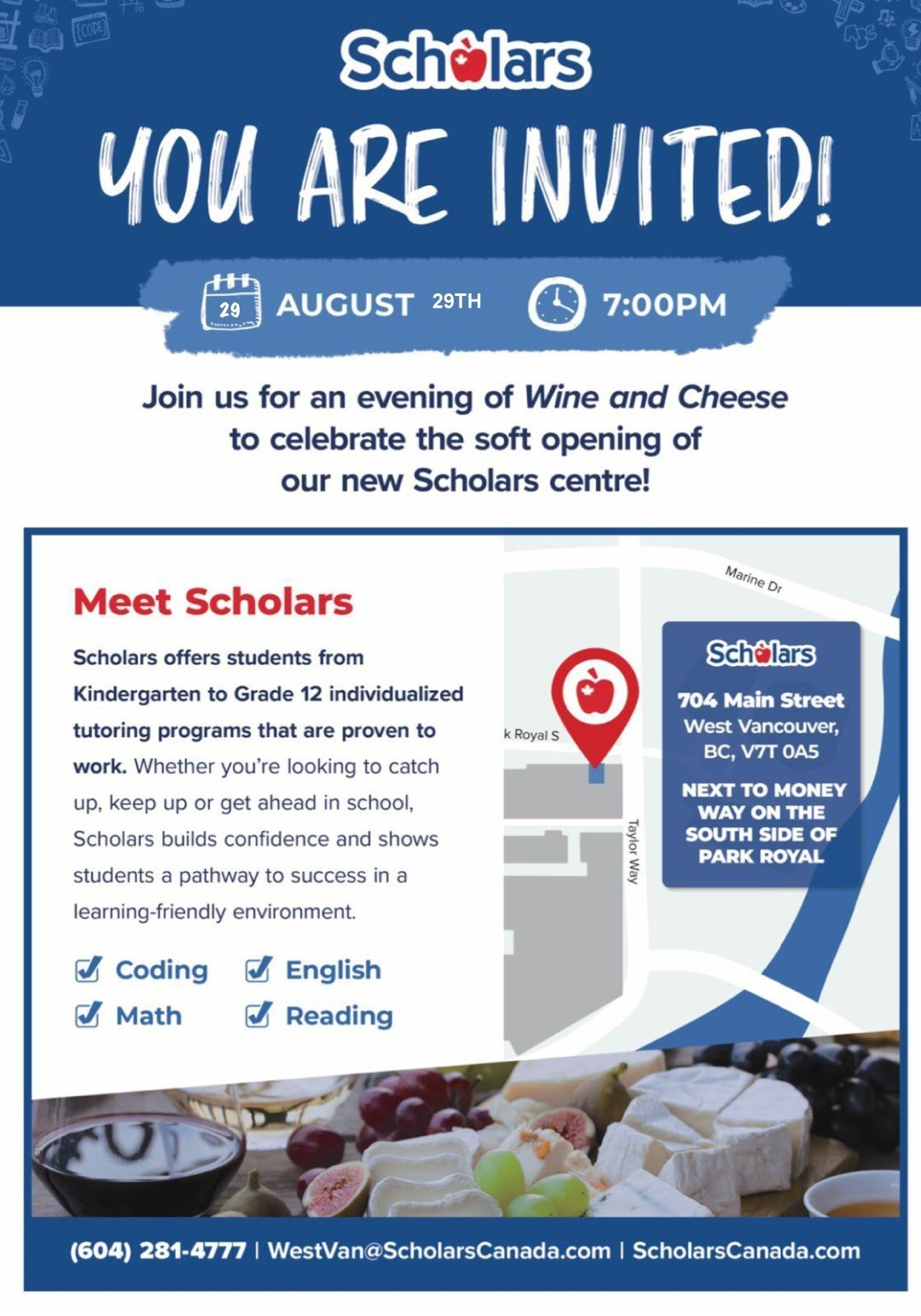 Wine and Cheese for Friends to Introduce Scholars Education