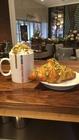 Pistachio Latte and Croissant