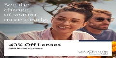 40% off lenses with a frame purchase.  Plan your visit today!