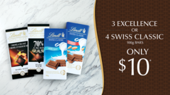 3 Excellence OR 4 Swiss Classic 100g BARS Only $10!*