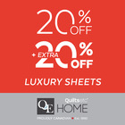 Save an additional 20% Off on luxury sheeting