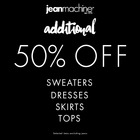 Extra 50% off all sale sweaters, dresses, tops and skirts