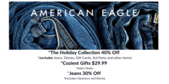 Holiday Shopping! 40% Off The Holiday Collection, $29.99 Cozy Gifts, 30% Off Jeans