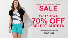RICKI'S FLASH SALE - 70% OFF SELECT SHORTS