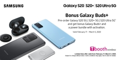 Pre-order Samsung Galaxy S20 5G | S20+ 5G | S20 Ultra 5G and get bonus Galaxy Buds+ with activation.