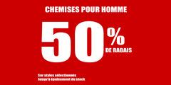 Promotion Chemises pour Homme à 50% de rabais