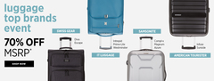 Luggage Event  70% off MSRP on Branded Luggage