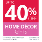 Up to 40% off Home Décor Sale: September 2 - October 6: