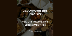 Curbside Pick-up Takeout and Door Dash Delivery Offers at Joey!