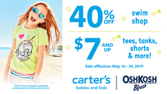 40% off swim shop / $7 & up tees, tanks, shorts & more!