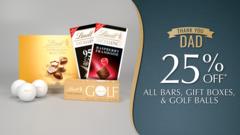 25% Off Bars, Gift Boxes, Golf Balls