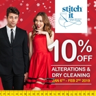 SAVE 10% on all Clothing Alterations & Dry Cleaning