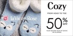 Socks and slippers: 50% off your second item