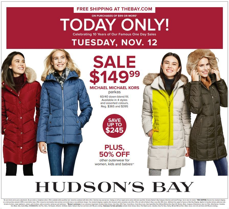 HUDSON'S BAY ONE DAY SALE!